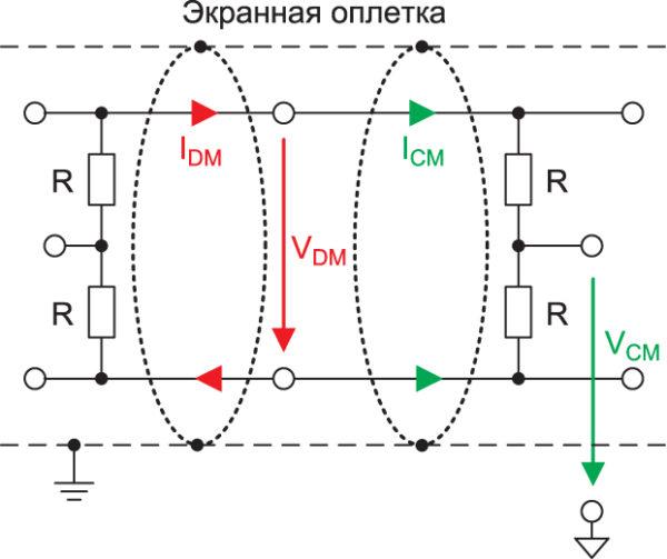 Симметричный интерфейс с измерением напряжений
