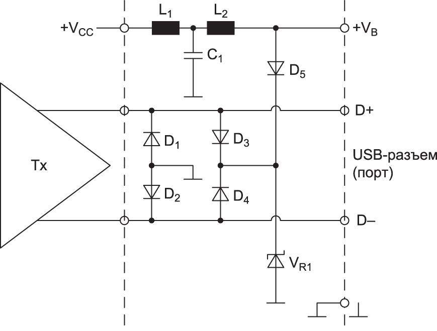 Диодный ограничитель для уменьшения воздействия переходных процессов (импульсы напряжения, разряд статического электричества) на интерфейсе USB со смещением для работы на более высоких уровнях сигнала