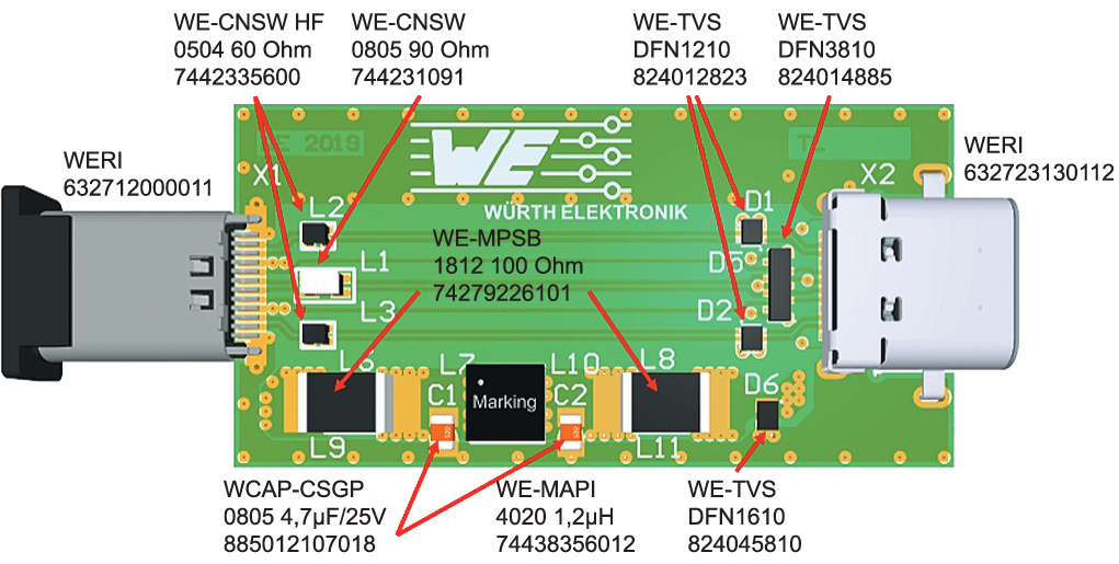Внутреннее расположение элементов адаптера USB Type-C