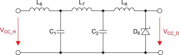 Решение для π-фильтра для приложений мощностью 100 Вт с его реализацией путем использования помехоподавляющих ферритовых SMD-элементов и TVS-диода