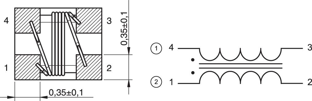 Чертеж синфазного дросселя фильтра линии передачи данных семейства WE-CNSW HF (744 233 56 00)