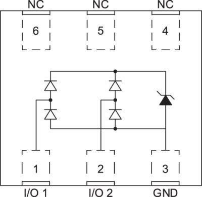 Электрическая схема и структура диодной матрицы WE-TVS (824 012 823)