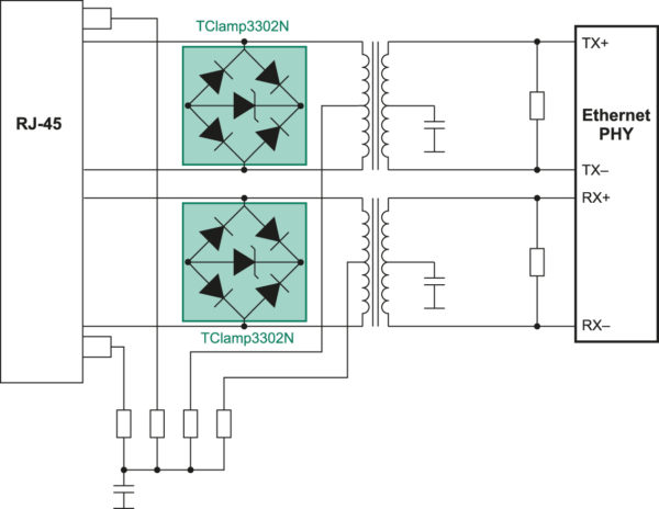 Вариант защиты логических линий интерфейса Ethernet при помощи ИС TClamp3302N