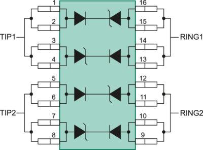Внутренняя структура и вариант схемы включения защитной ИС LC04-6