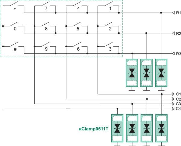 Применение супрессоров uClamp0511T для ESD-защиты клавиатуры