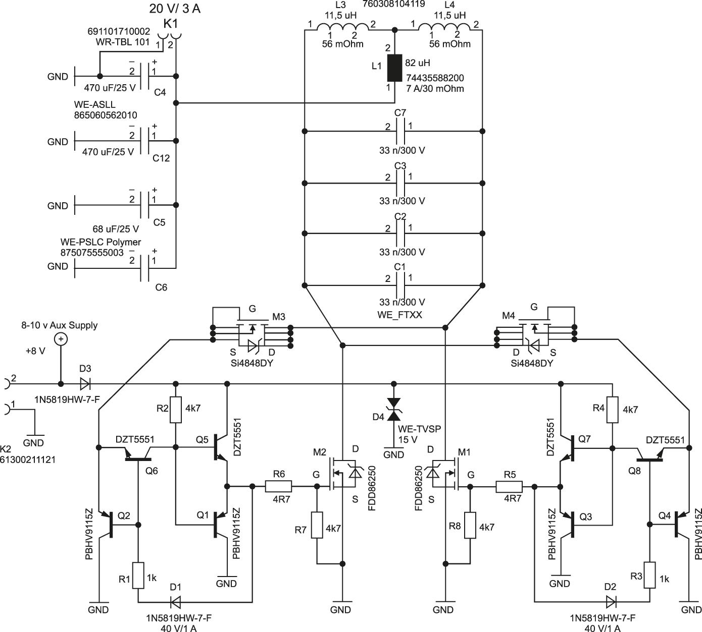 Резонансный преобразователь для катушек со средним отводом, который можно использовать на стороне передатчика и на стороне приемника