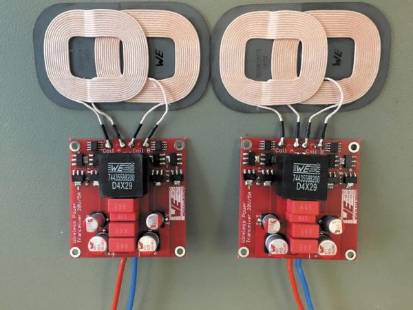 Пример конструкции передатчика/приемника, схема которого приведена на рис. 5, с катушками 760308104119, выполненными на одном основании