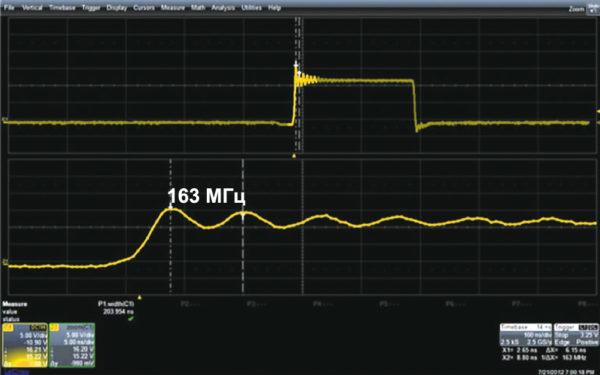 Помеха на частоте 163 МГц легко объясняется «звоном» ключей DC/DC-преобразователя