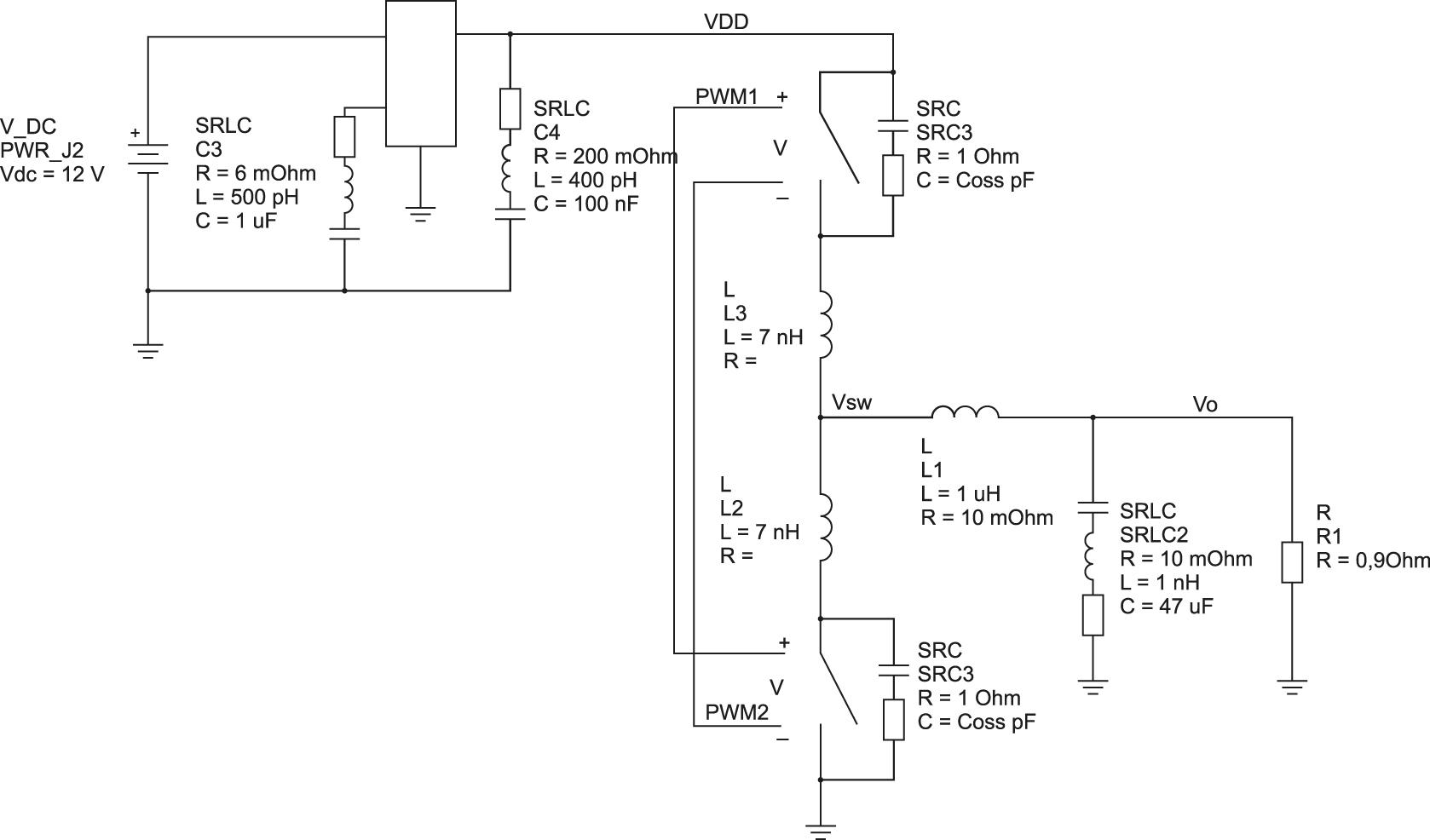 Модель DC/DC-преобразователя, использованная для иллюстрации генерации ЭМП в цепях подключения питания.