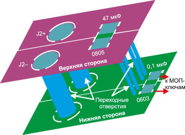 Питание и«землю» сверхней стороны печатной платы нанижнюю сторону соединяют подве параллельные переходные линии связи