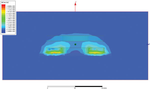 Влияние проводящего слоя на распределение магнитного потока (симуляция)