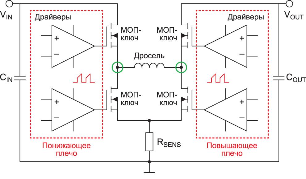 Принципиальная схема преобразователя и формирование высокочастотных контуров тока