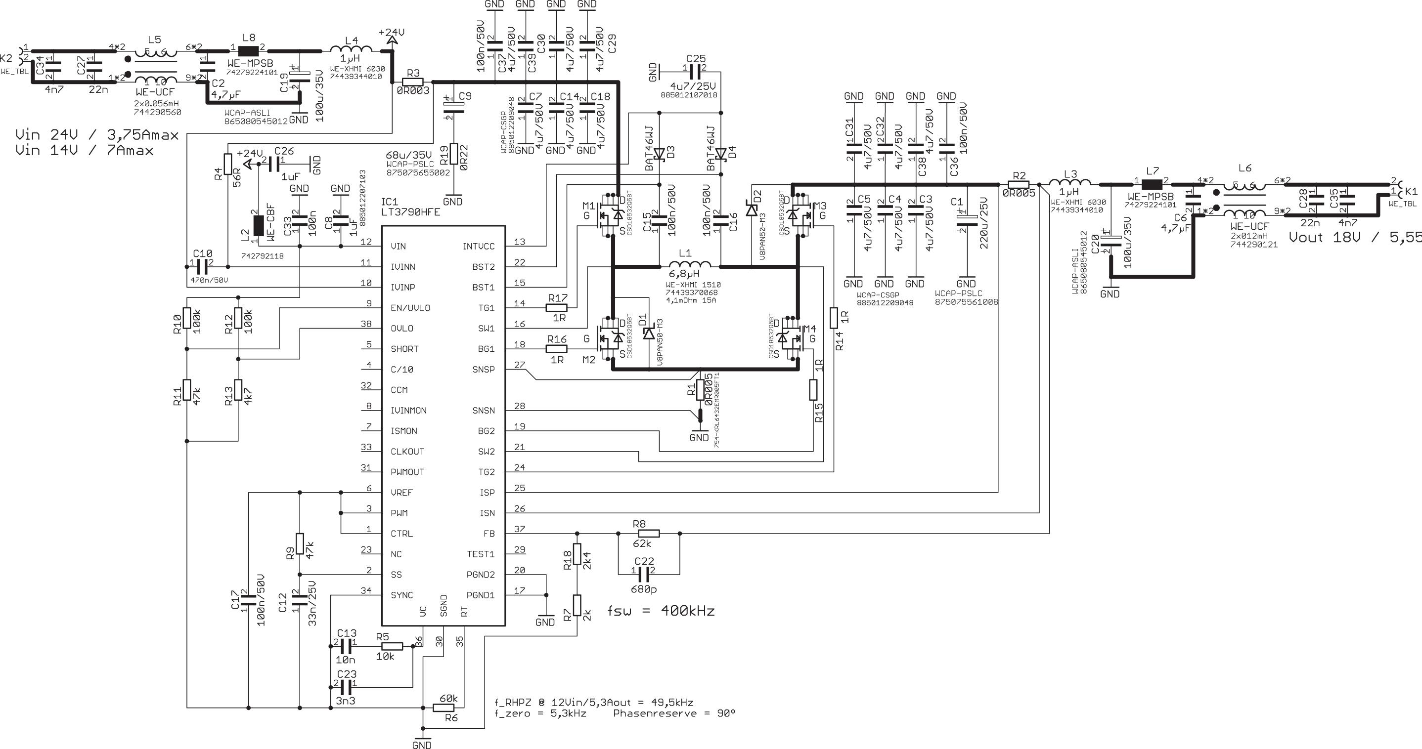 Электрическая принципиальная схема повышающе-понижающего преобразователя мощностью 100 Вт, включая все компоненты фильтрации