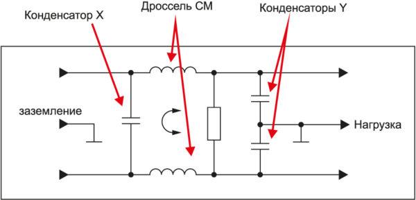 Универсальный фильтр, который применяется для фильтрации на входе источника пита
