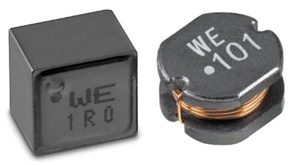 Катушки индуктивности WE-XHMI и WE-PD2 с «точкой», указывающей начало обмотки