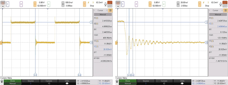 Напряжение «сток-исток» V_DS на ключе понижающего DC/DC-преобразователя (слева) и помеха в виде звона переходного процесса во время включения ключа S1 (справа)
