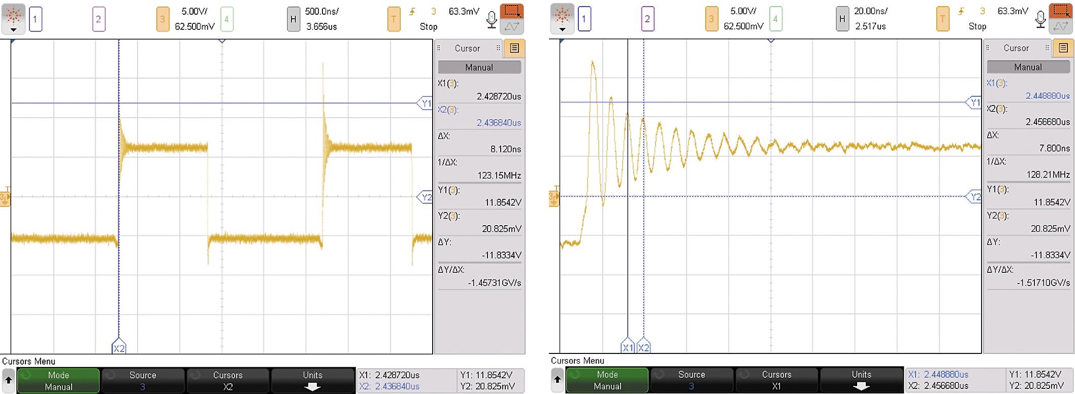 Форма сигнала напряжения на дросселе. Напряжение на дросселе понижающего DC/DC-преобразователя (слева), результирующий сигнал на дросселе во время включения ключа S1 (справа).