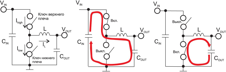 Работа понижающего преобразователя с токовой петлей при разных положениях переключателя