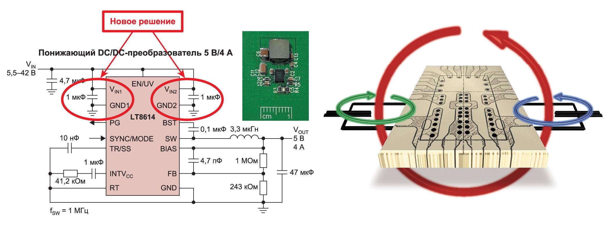 Пример практического решения в виде понижающего DC/DC-преобразователя, выполненного на контроллере LT8614 архитектуры Silent Switcher. В основе архитектуры Silent Switcher лежит разделение «горячих петель» на две с замкнутыми магнитными полями