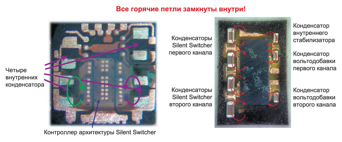 Silent Switcher 2 — развитие архитектуры Silent Switcher за счет повышения интеграции и сокращения площади «горячих петель» для одноканального и двухканального контроллеров