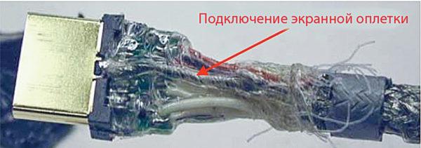 Пример неудачного подключения экрана в кабеле HDMI
