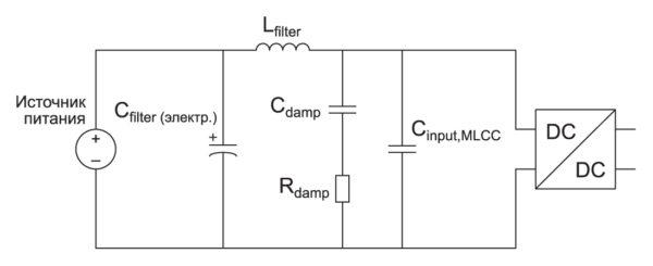 Вариант подавления переходных процессов — SMD¬резистор Rdamp, включенный последовательно  с конденсатором  Сdamp