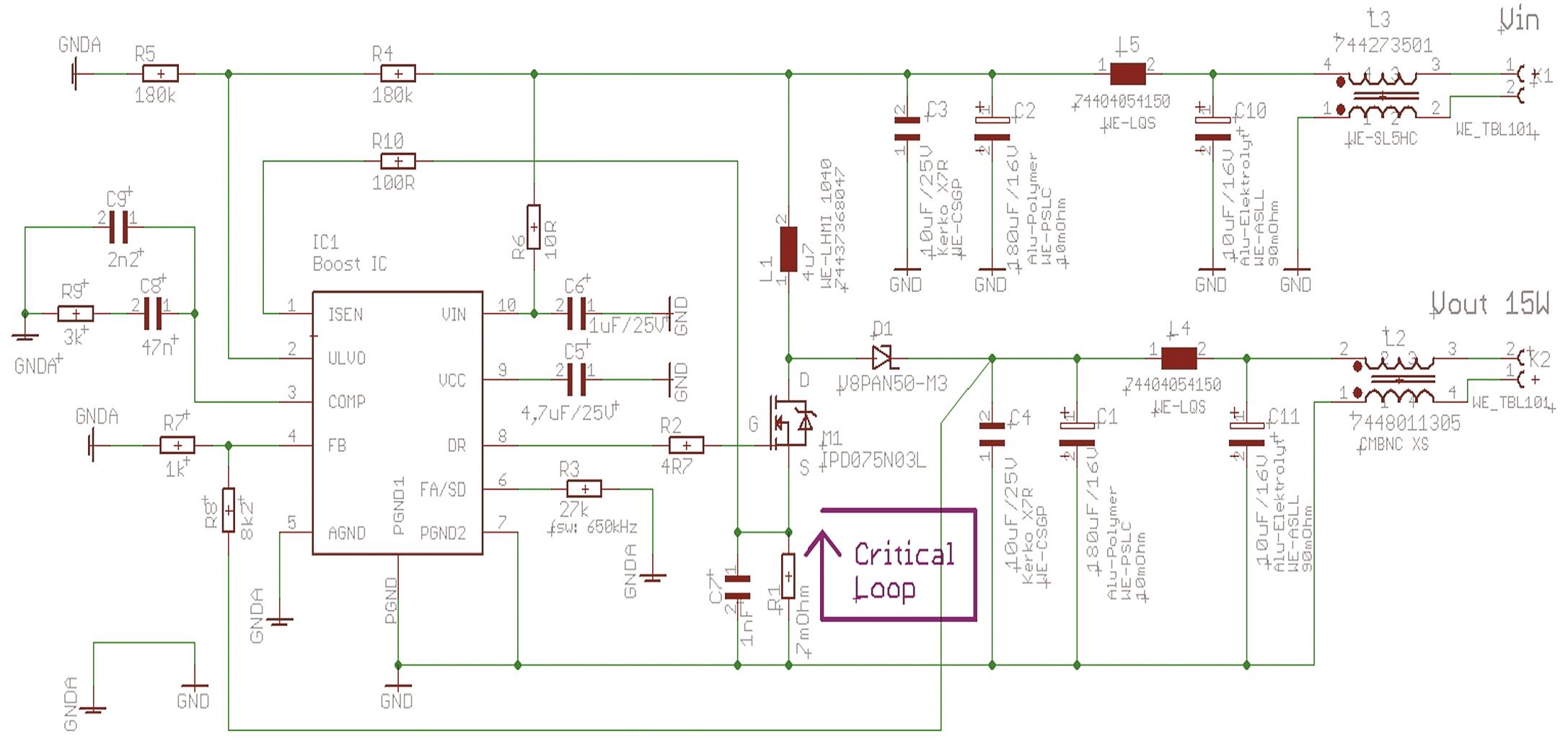 Повышающий DC/DC-преобразователь, улучшенный вариант, схема электрическая принципиальная (Critical Loop — критическая с точки зрения ЭМП петля тока)