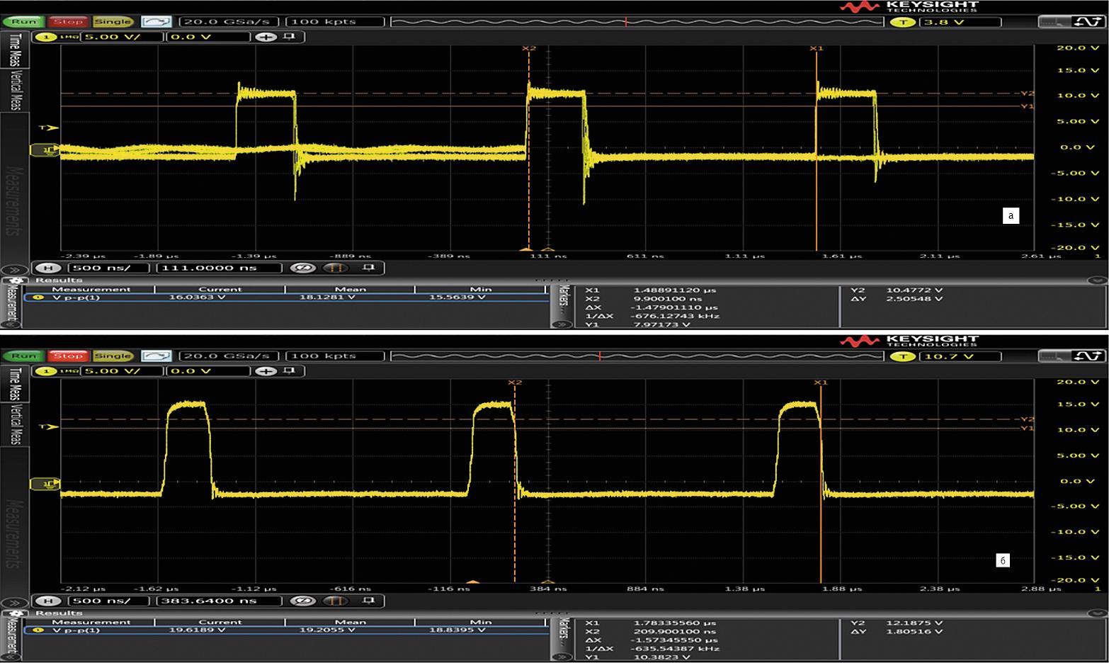 Форма напряжения сток-исток силового МОП-транзистора в схеме повышающего DC/DC-преобразователя