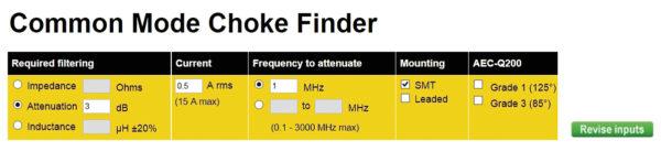 выбор синфазного дросселя в симуляторе CM Choke Finder