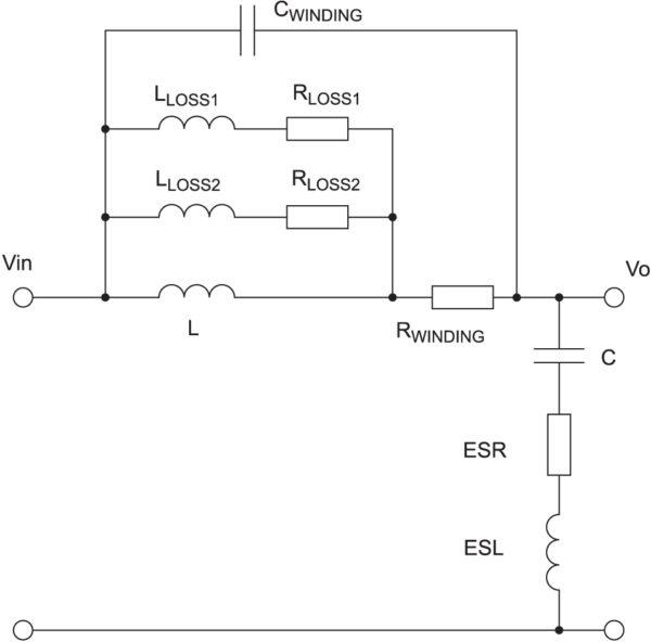 Эквивалентная схема внешнего LC-фильтра с паразитными составляющими