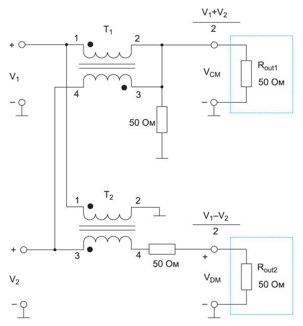 Схема измерения синфазных и дифференциальных помех