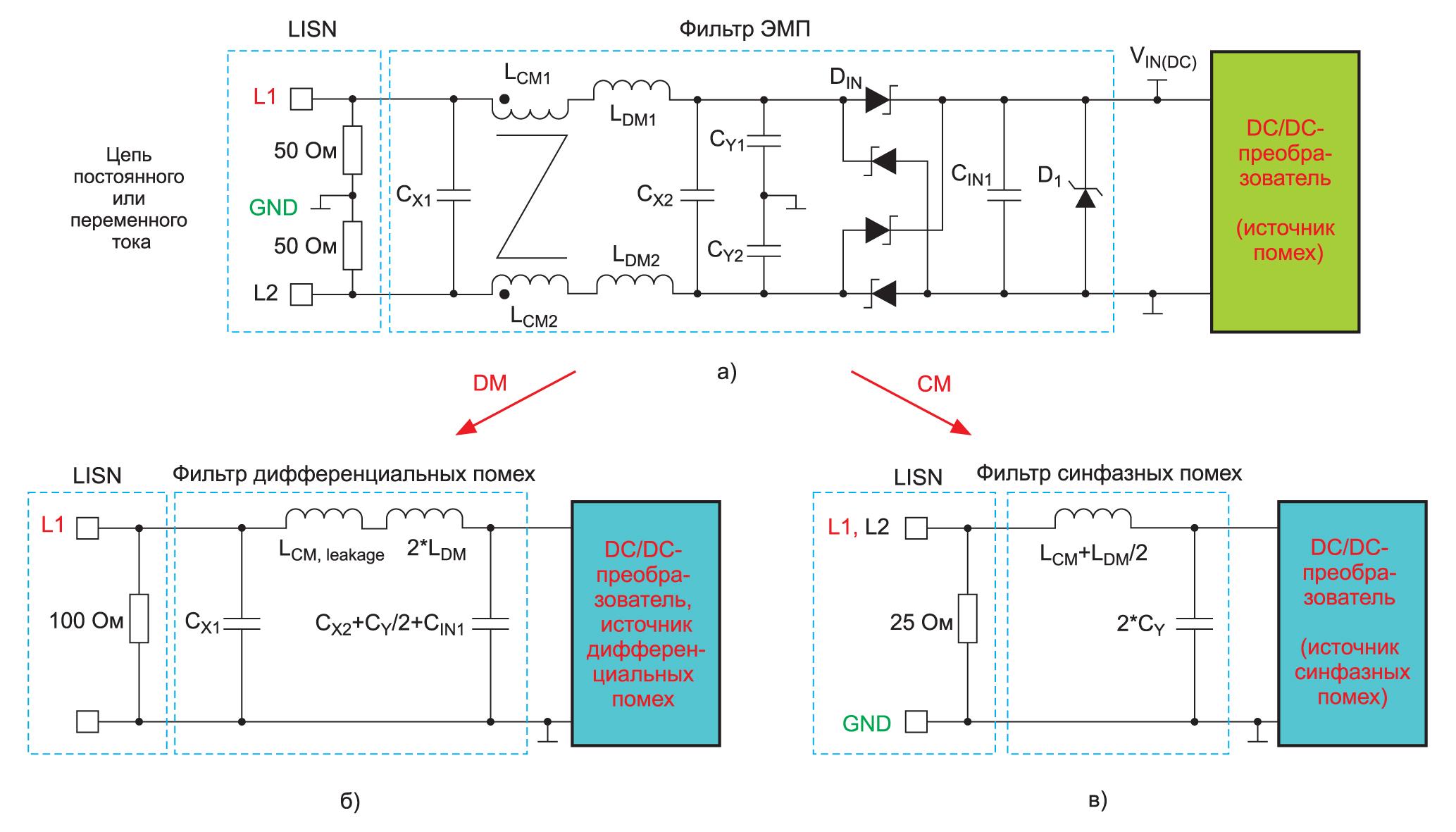 Пассивный ЭМП-фильтр синфазных и дифференциальных помех
