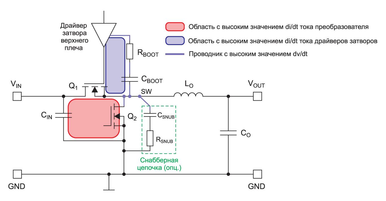 Упрощенная схема неизолированного понижающего DC/DCпреобразователя