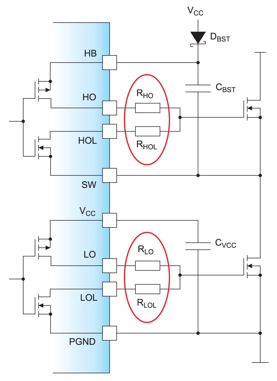 Введение резисторов в цепь затвора силового ключа