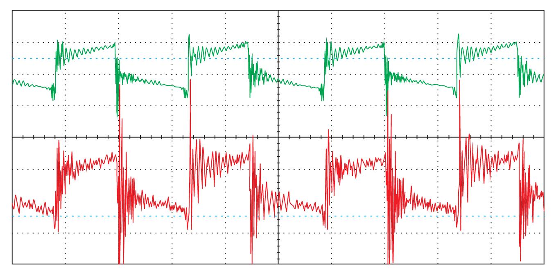 Осциллограммы напряжения на силовом ключе преобразователя, полученные с помощью коаксиального кабеля и посредством щупа осциллографа