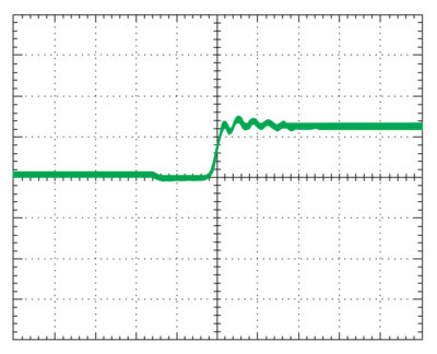 Растянутая осциллограмма (10 нс/дел.) момента переключения ключа с дополнительным резистором в затворе