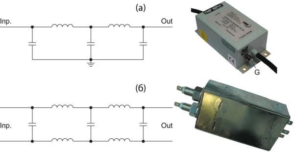 Упрощенные схемы и внешний вид LC-фильтров, предназначенных для защиты от ЭМИ ЯВ
