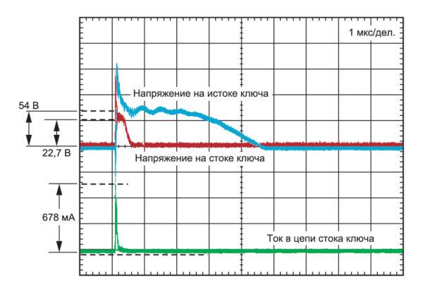 Напряжение и ток на выходе ключа при воздействии разряда 8 кВ