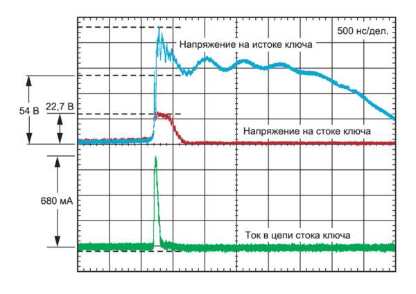 Напряжение и ток на выходе ключа при воздействии разряда через воздушный зазор 16 кВ