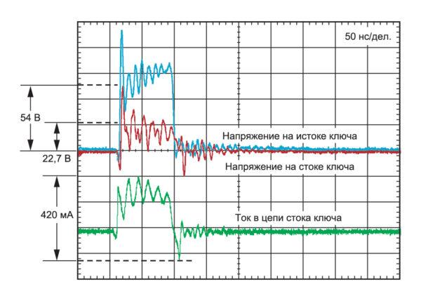 результаты измерения, полученные при воздействии одного импульса напряжением 4кВ