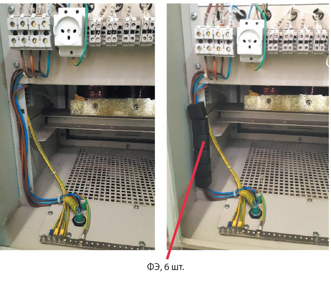Установка ферритовых элементов (ФЭ) в шкафу с электронной аппаратурой: до установки (слева); после установки (справа)