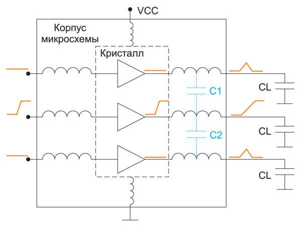 Схема, демонстрирующая влияние паразитных емкостей корпуса