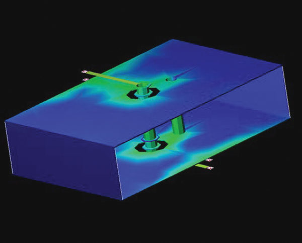 Распределение тока вблизи сигнального сквозного отверстия и находящегося рядом переходного отверстия