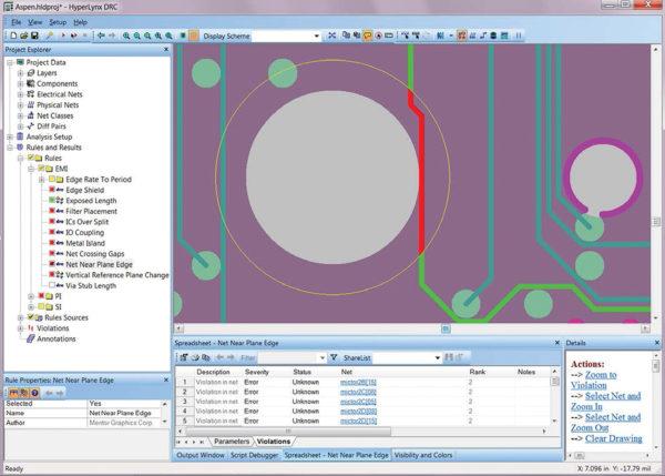 Идентификация проводника у края опорной плоскости в окне HyperLynx DRC