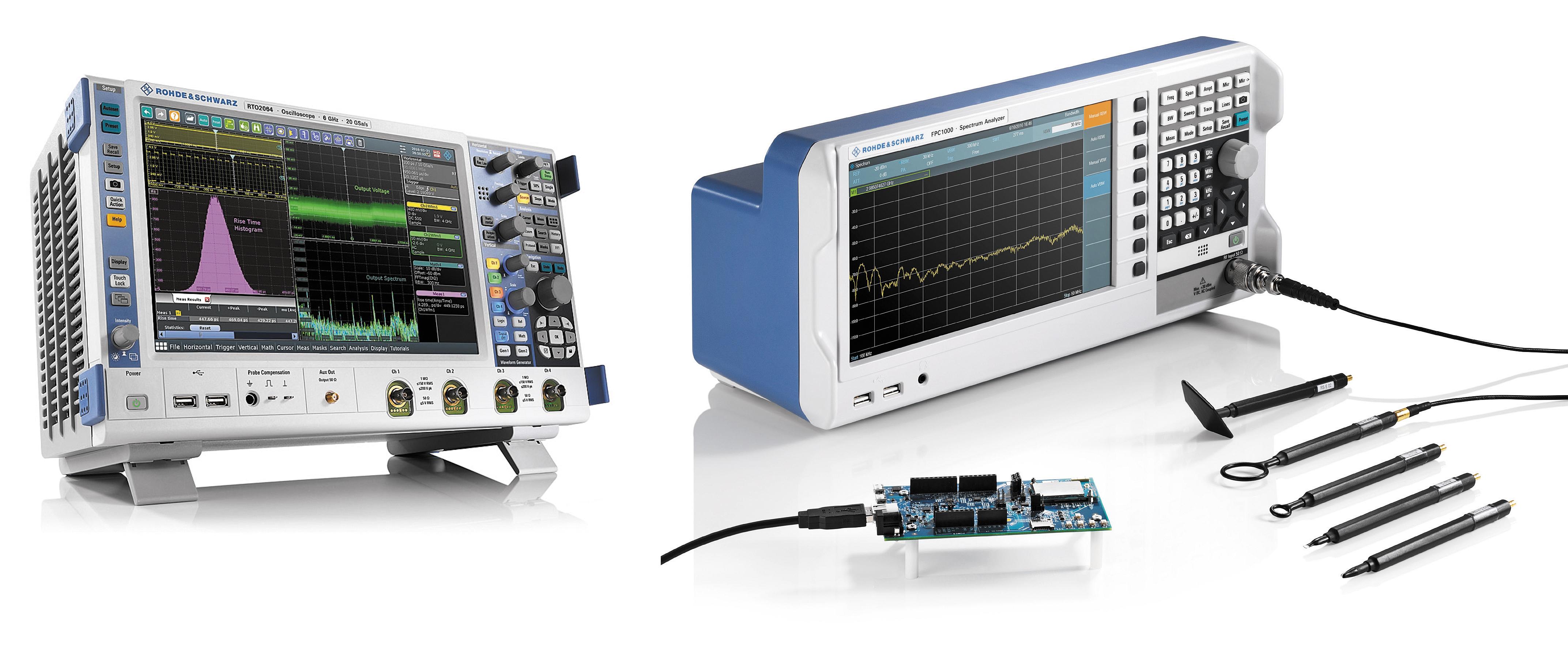 10,1-дюймовый емкостный сенсорный экран осциллографа R&S RTO2000 компании Rohde & Schwarz позволяет пользователям быстро перемещаться по всплывающим меню и регулировать масштабирование путем увеличения или перемещения сигнала. Внизу показан анализатор спектра серии R&S FPC с пробниками ближнего поля