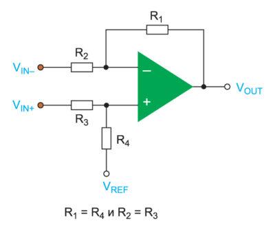 . Схема дифференциального усилителя на дискретных компонентах