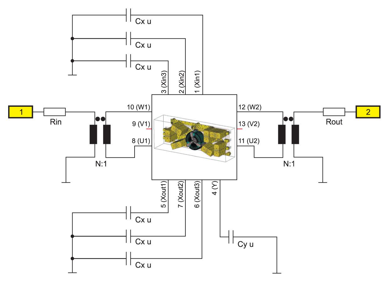 Модель фильтра подавления ЭМП в виде черного ящика, автоматически созданная в схеме