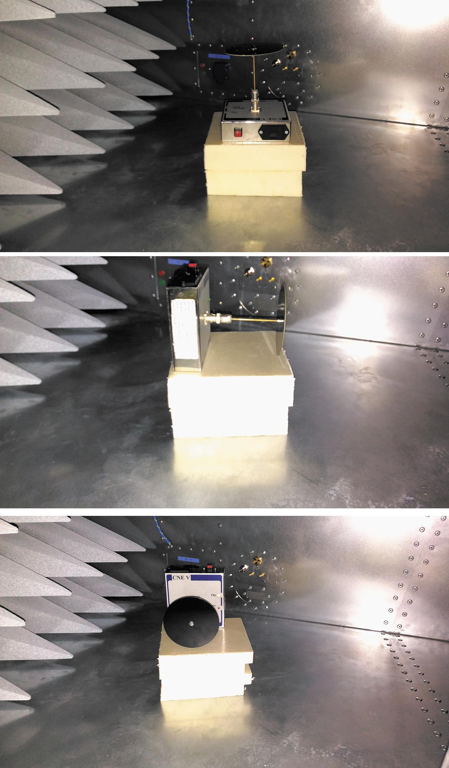Три положения эталонного излучателя внутри GTEM-камеры
