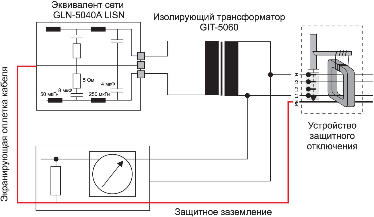 Схема включения изолирующего трансформатора GIT-5060 от компании GW Instek