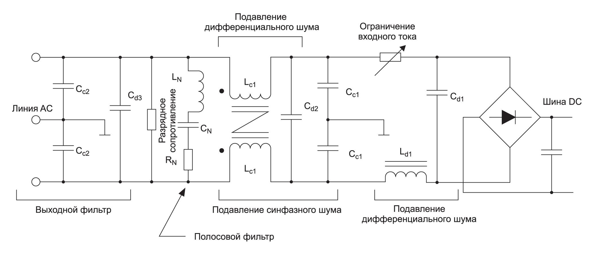 Схема линии питания первичной стороны с ЭМП-фильтрами